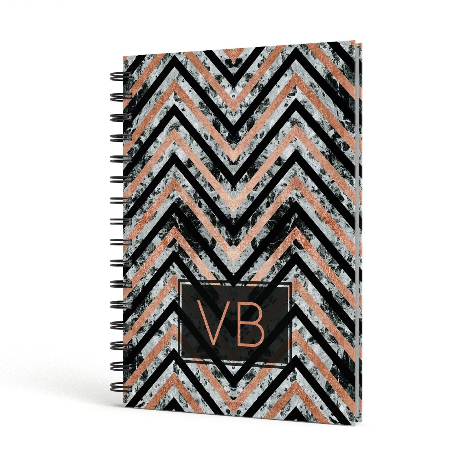 Personalised Chevron Marble Initials A5 Hardcover Notebook Side View