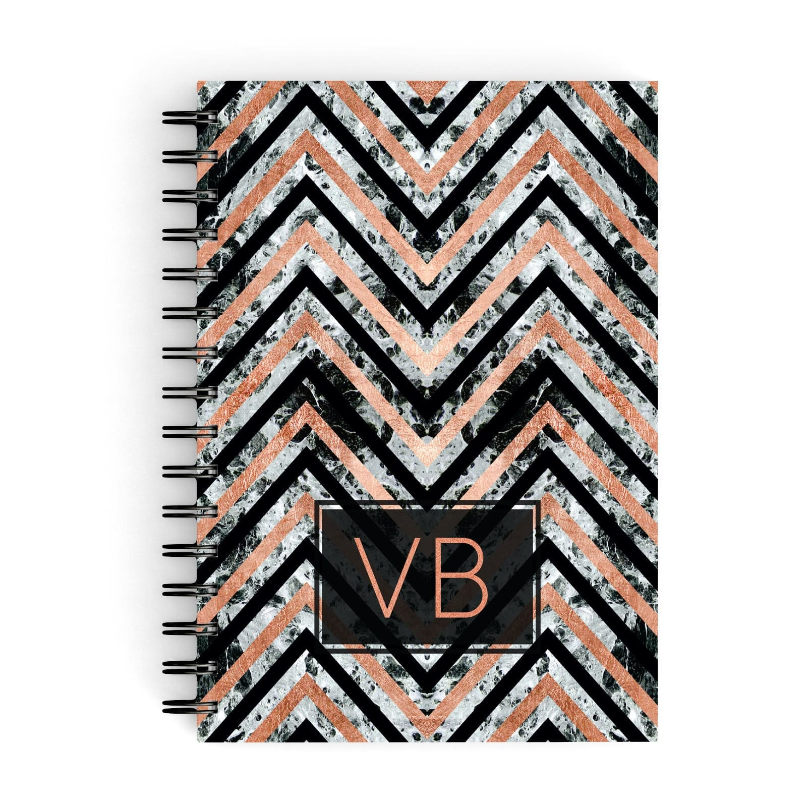 Personalised Chevron Marble Initials A5 Hardcover Notebook