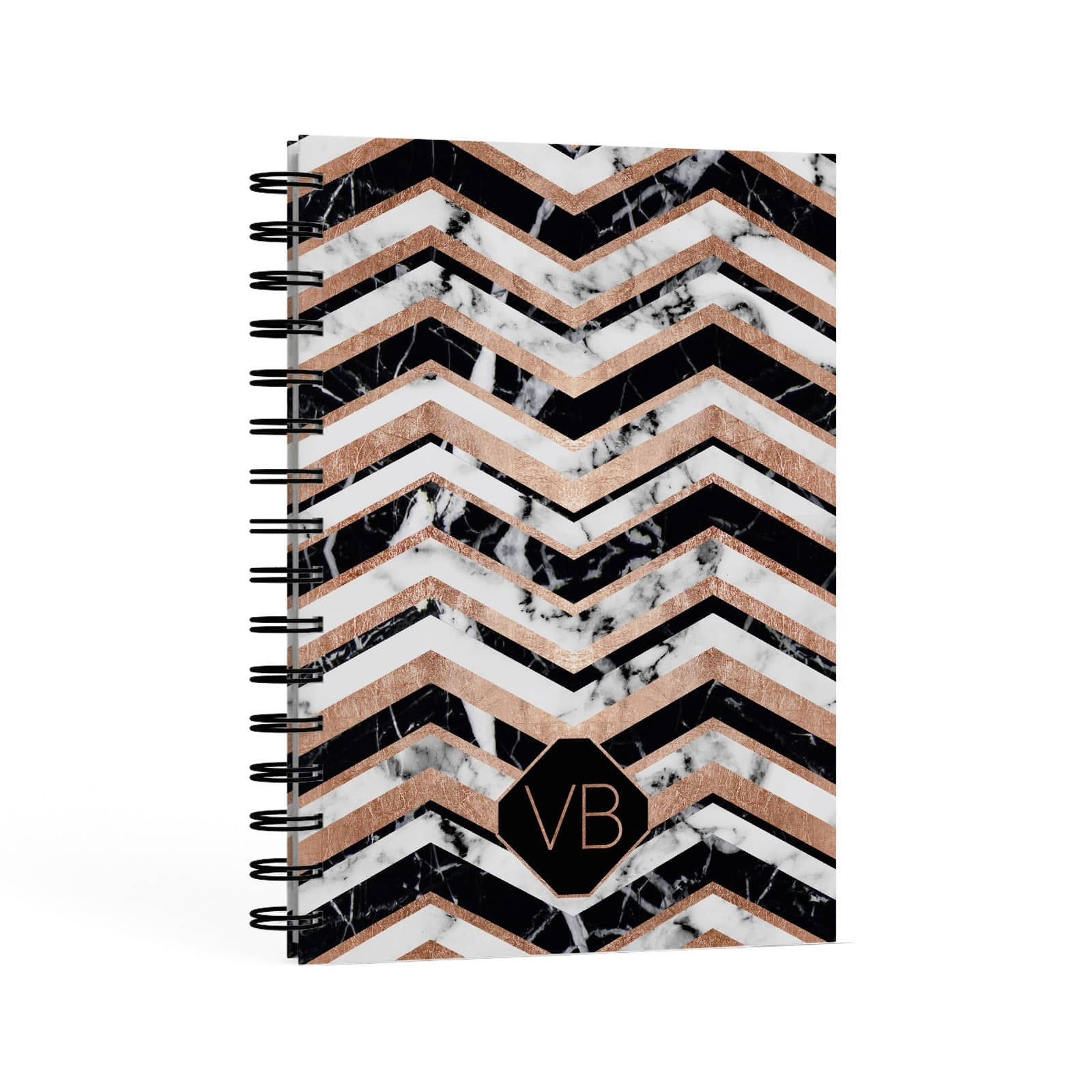Personalised Chevron Marbled Initials A5 Hardcover Notebook Second Side View