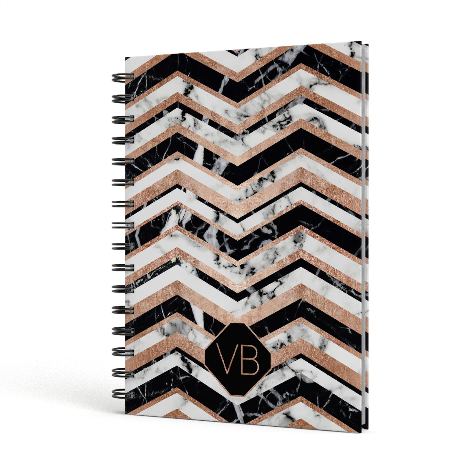 Personalised Chevron Marbled Initials A5 Hardcover Notebook Side View