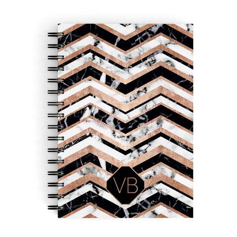 Personalised Chevron Marbled Initials A5 Hardcover Notebook