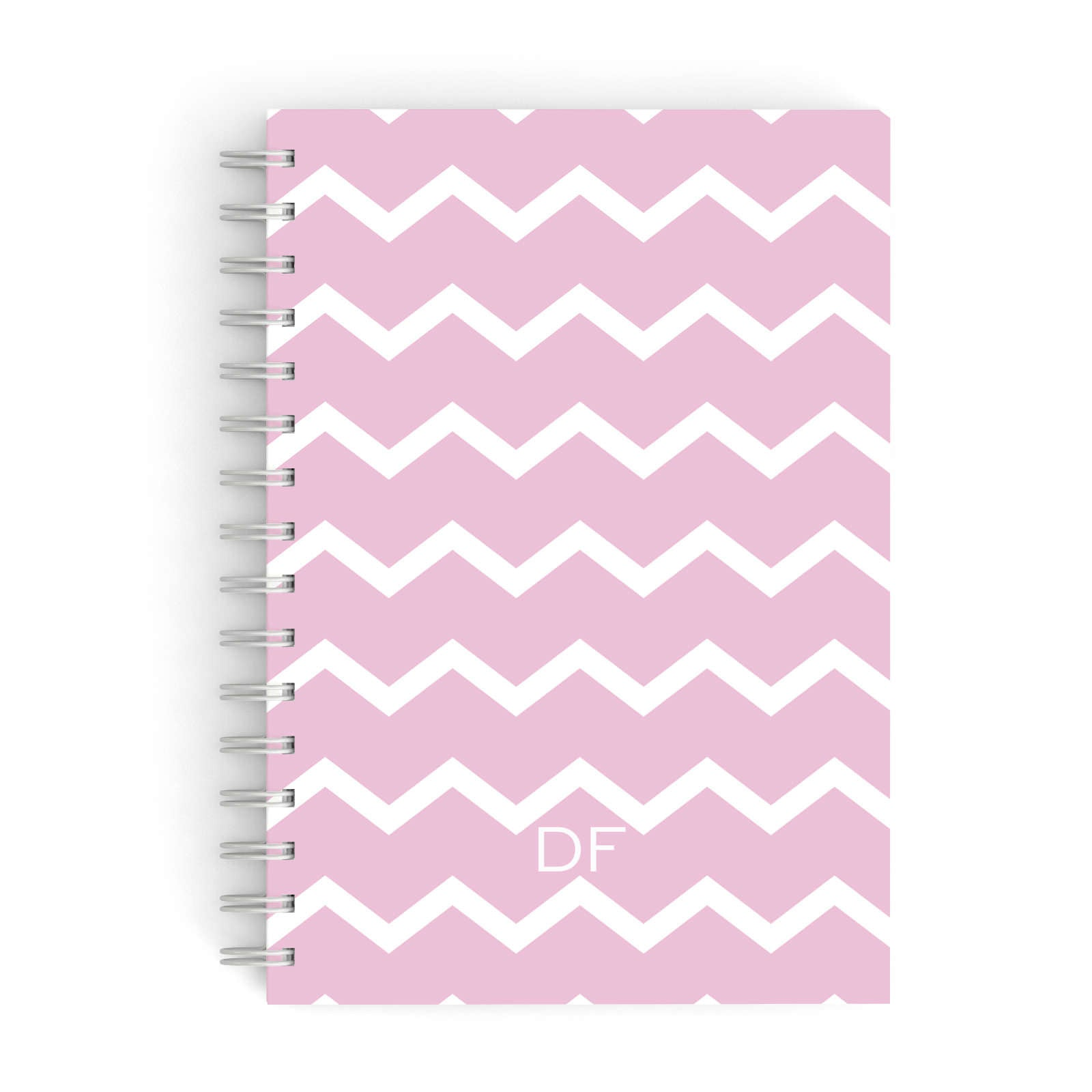 Personalised Chevron Pink A5 Hardcover Notebook