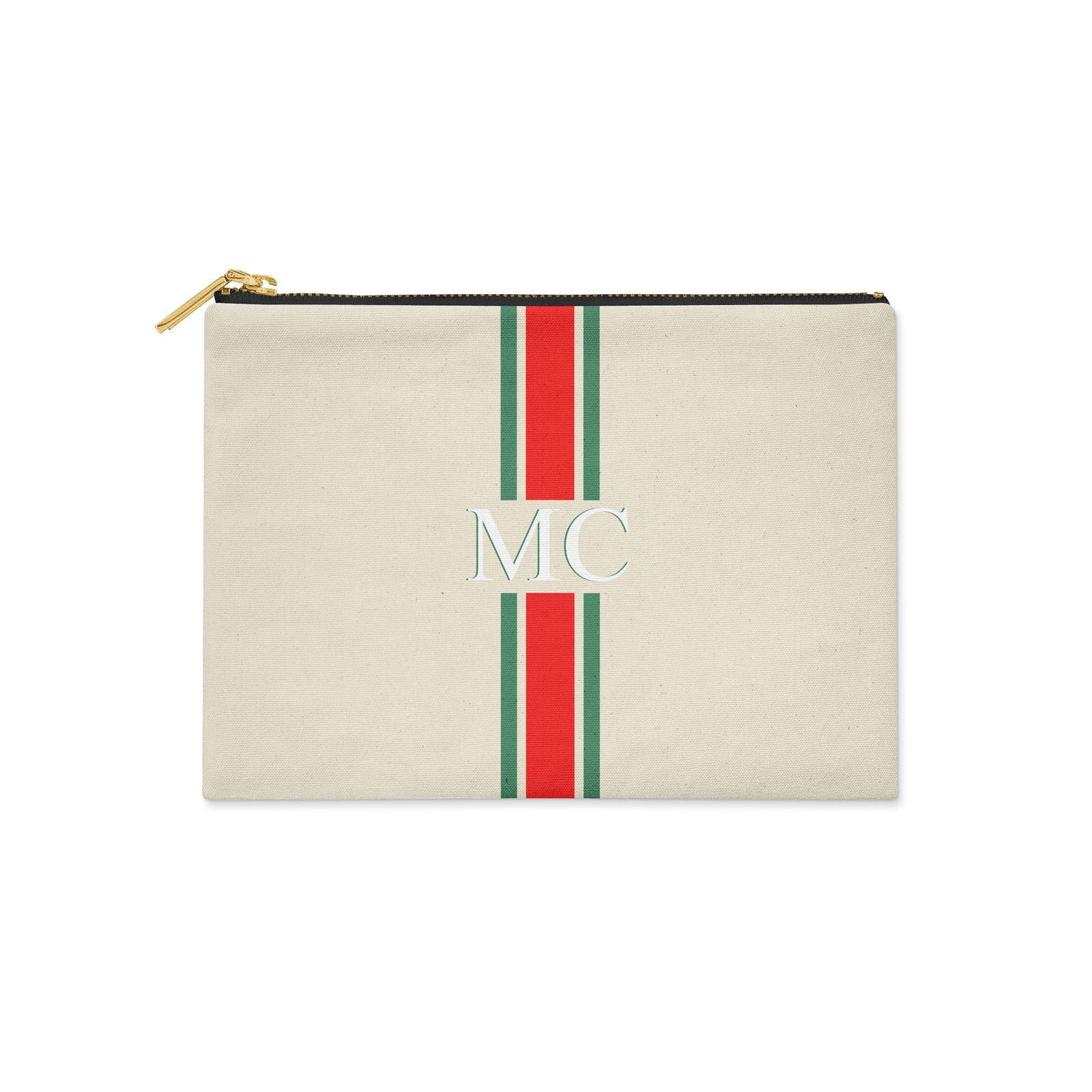 Monogram Red & Green Canvas Clutch