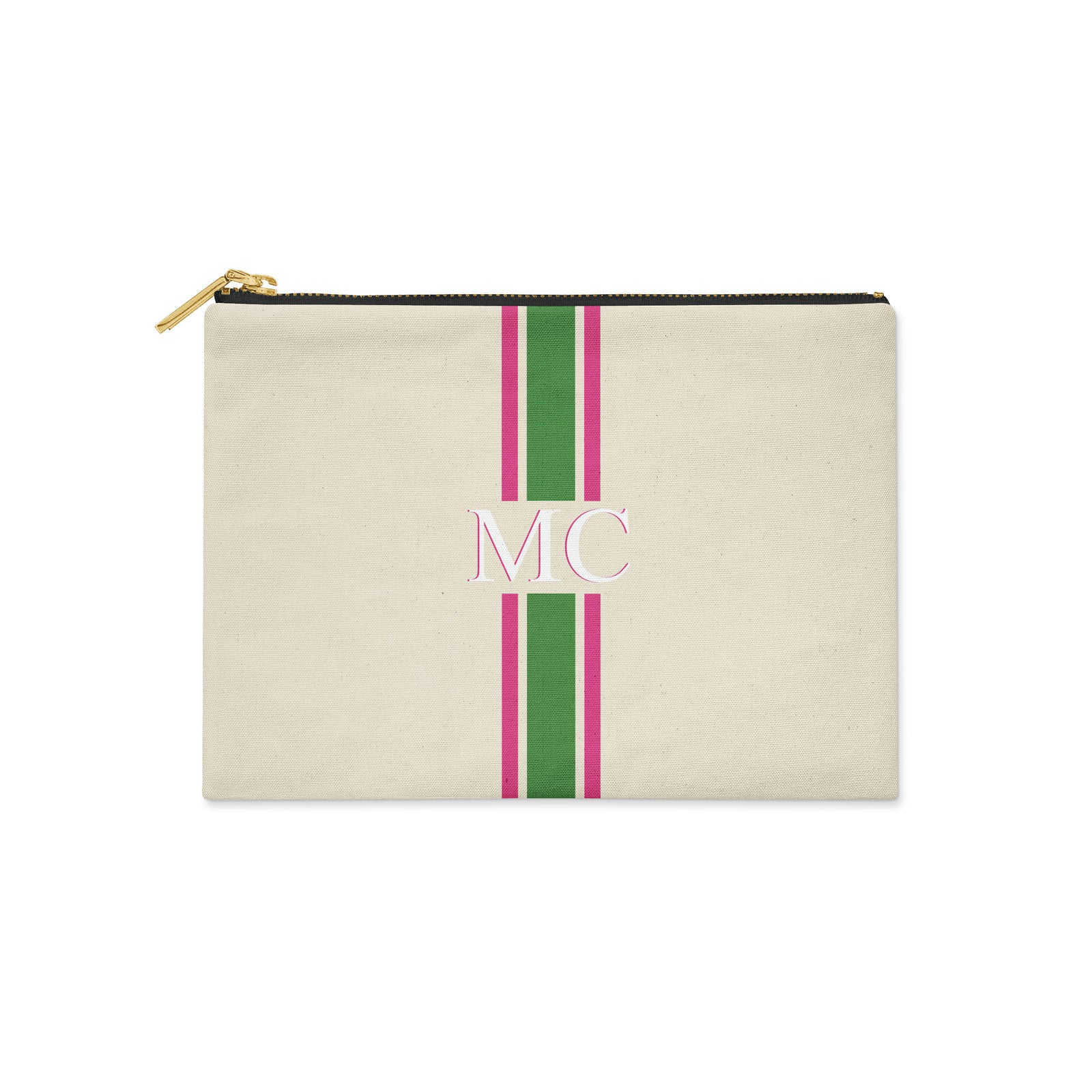 Monogram Green & Pink Canvas Clutch
