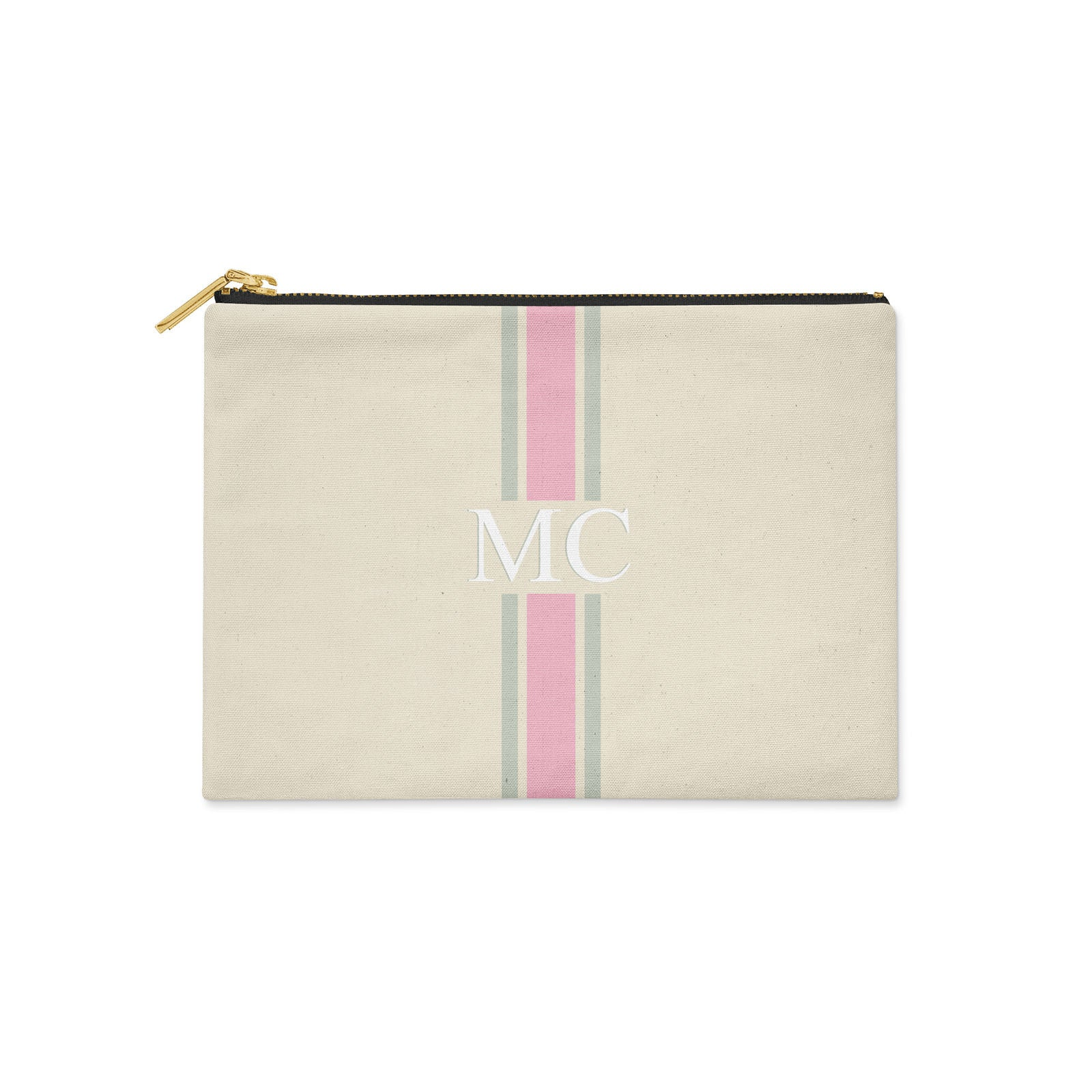 Monogram Pink & Grey Canvas Clutch