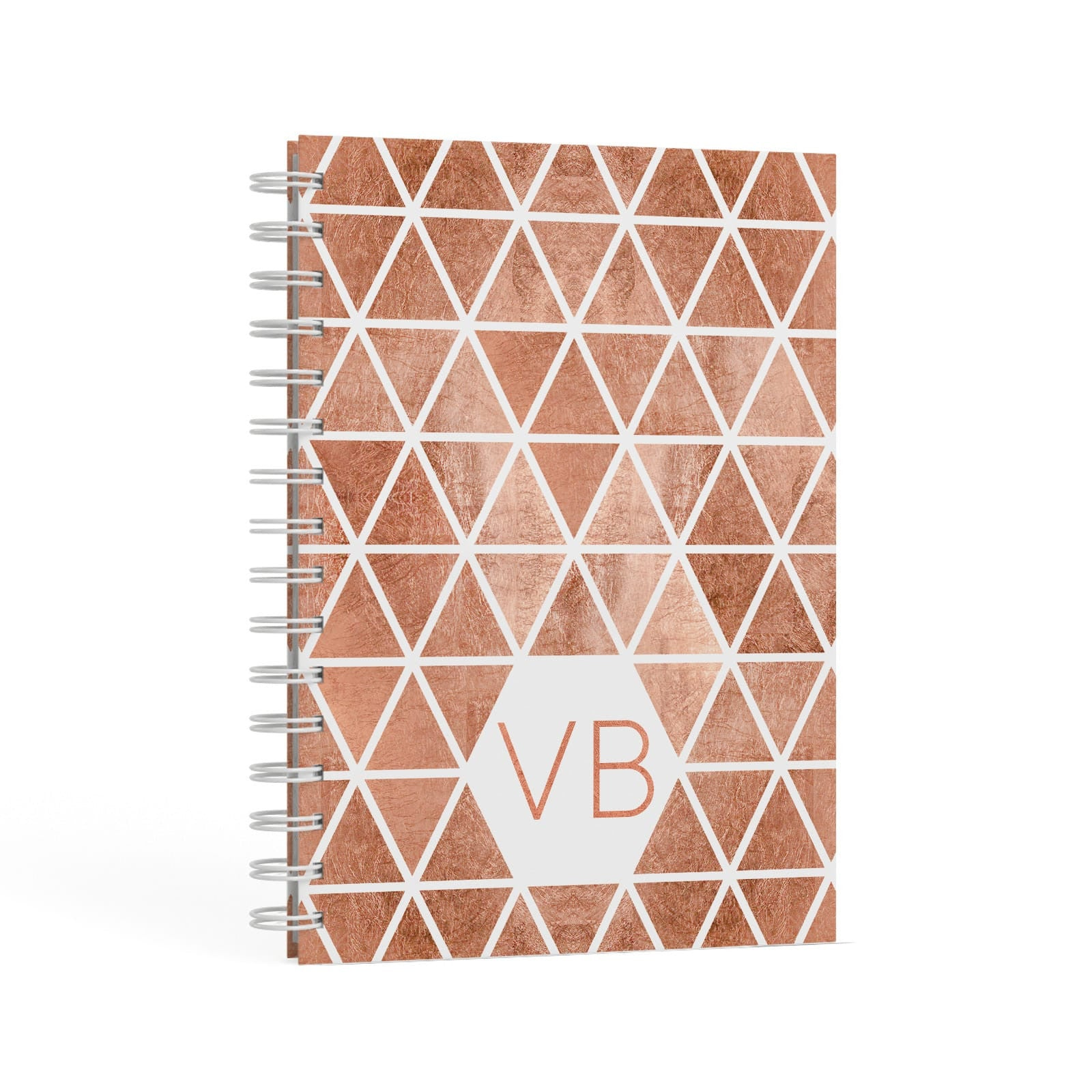 Personalised Copper Initials A5 Hardcover Notebook Second Side View