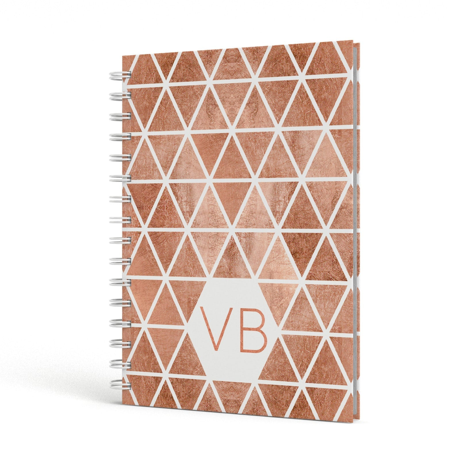 Personalised Copper Initials A5 Hardcover Notebook Side View