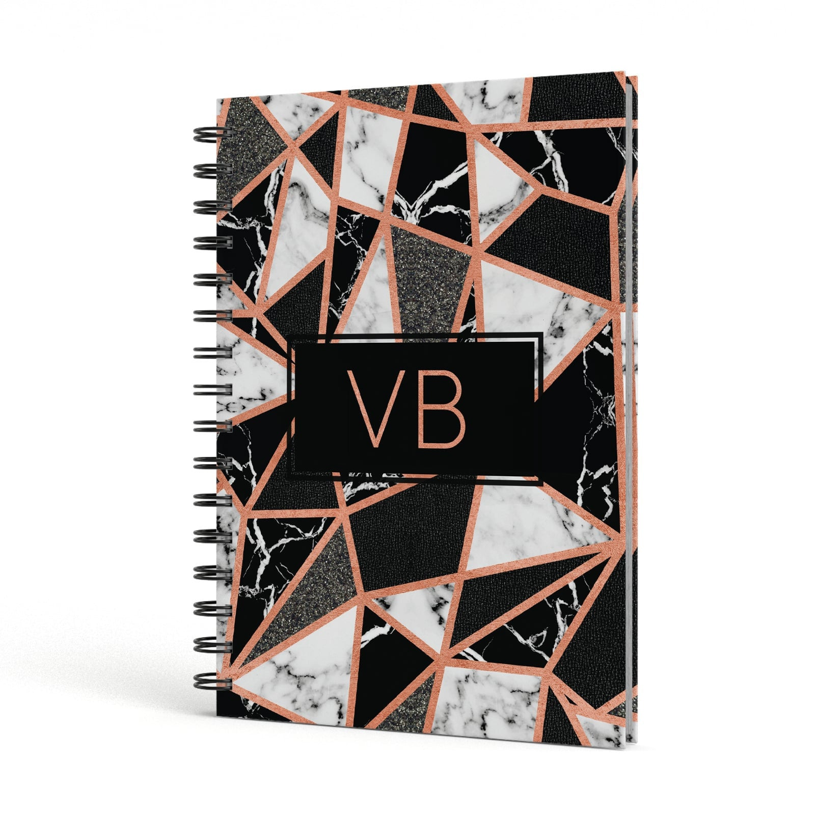 Personalised Copper Marble Initials A5 Hardcover Notebook Side View
