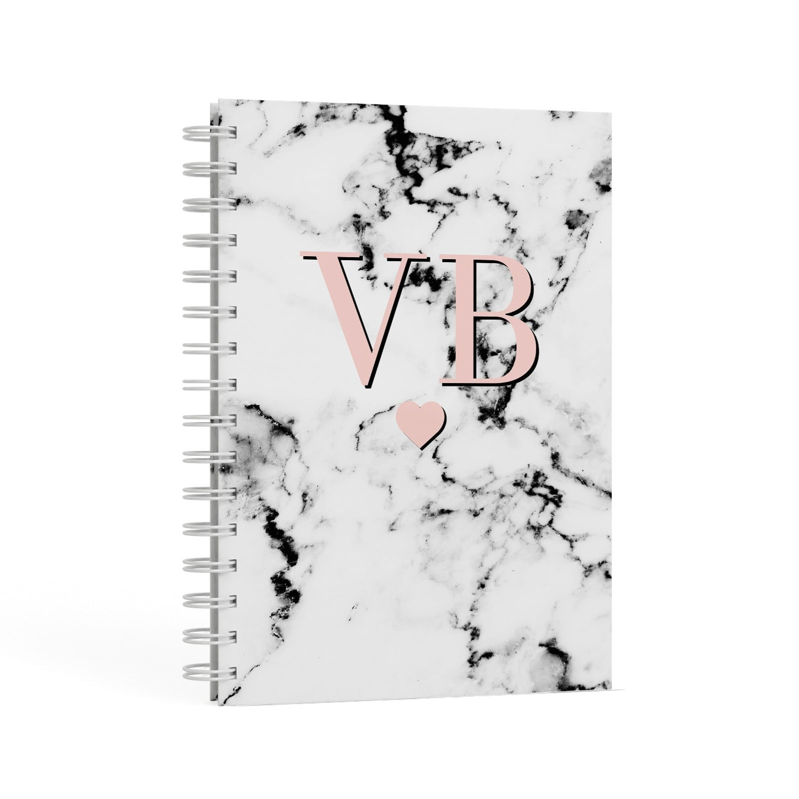 Personalised Coral Heart Initial & Marble A5 Hardcover Notebook Second Side View