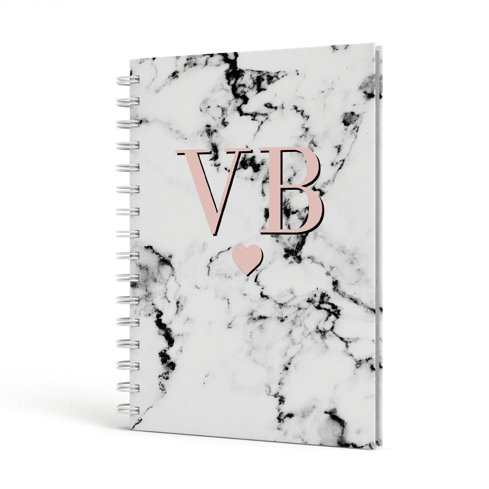 Personalised Coral Heart Initial & Marble A5 Hardcover Notebook Side View