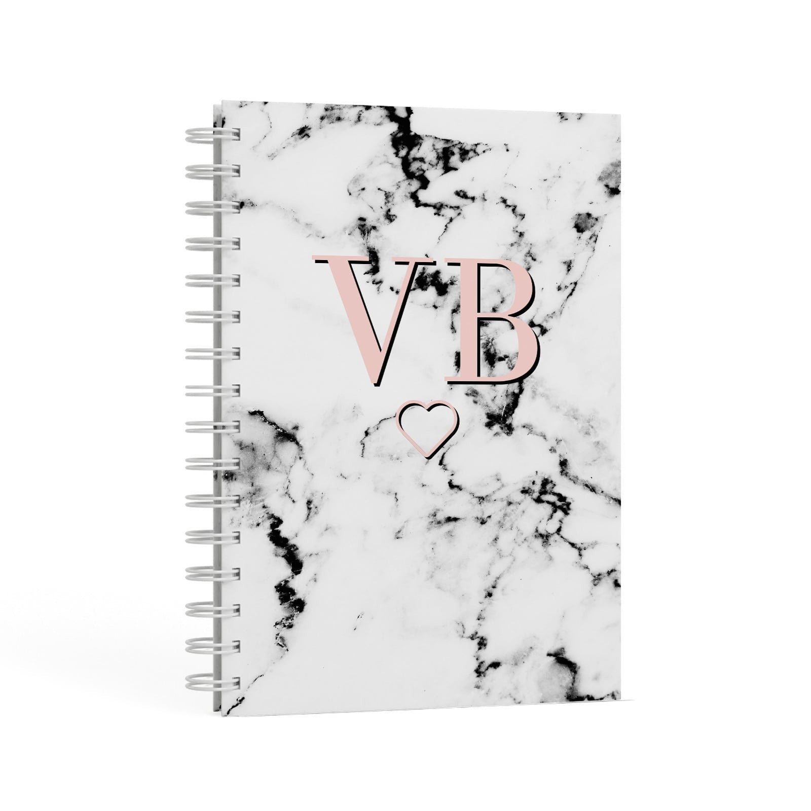 Personalised Coral Initials Heart Marble A5 Hardcover Notebook Second Side View