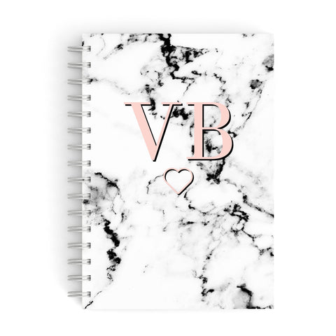 Personalised Coral Initials Heart Marble A5 Hardcover Notebook