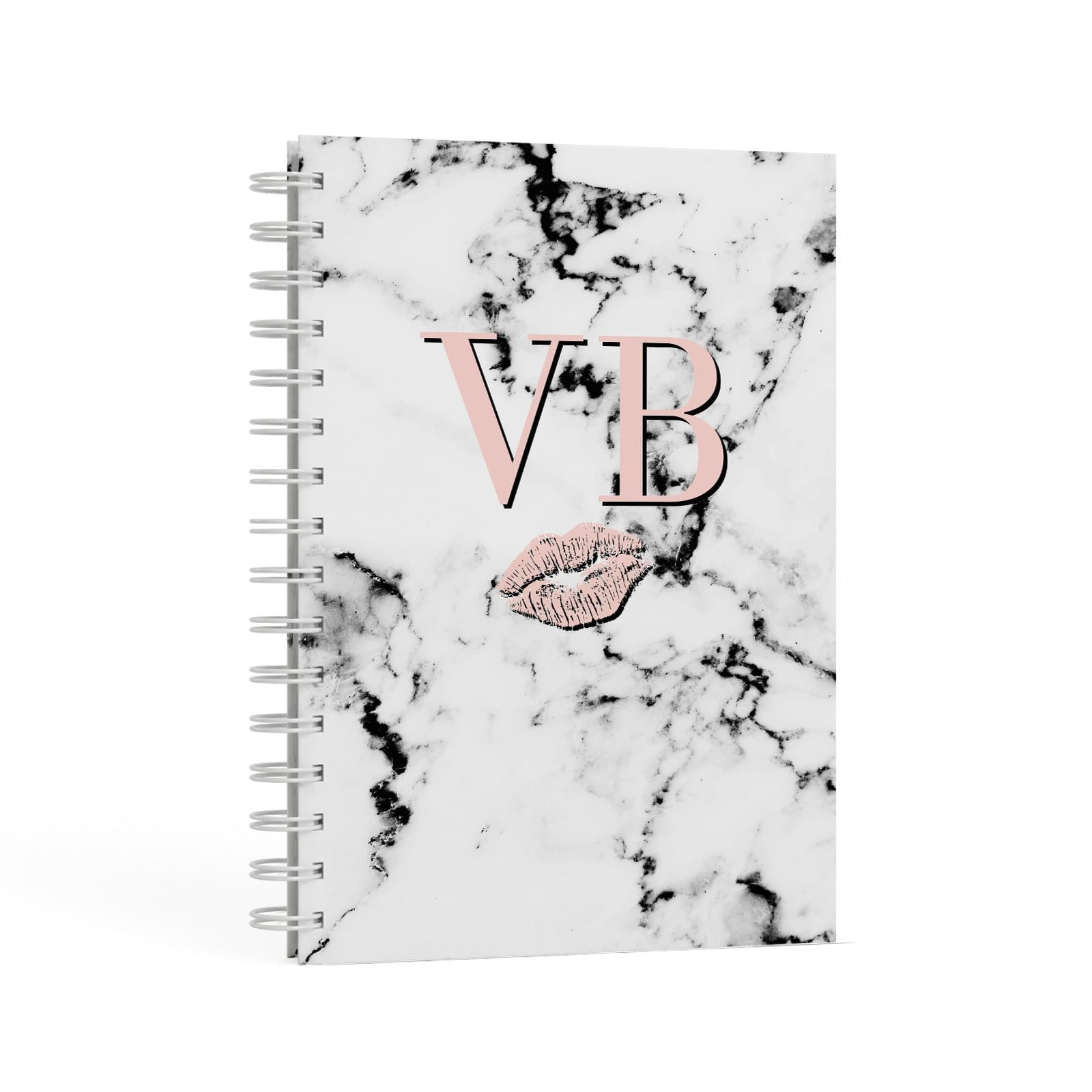 Personalised Coral Initials Lips Marble A5 Hardcover Notebook Second Side View