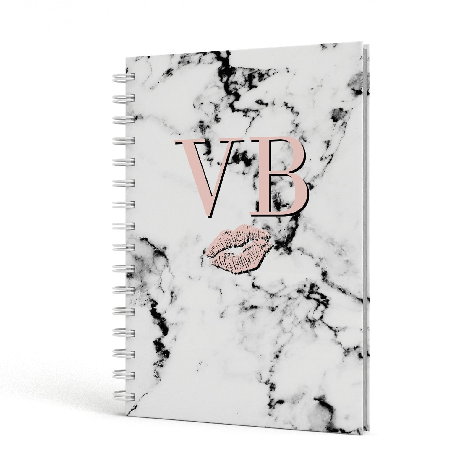 Personalised Coral Initials Lips Marble A5 Hardcover Notebook Side View