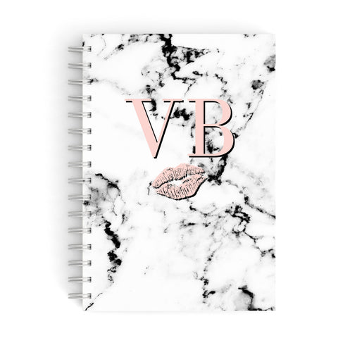 Personalised Coral Initials Lips Marble A5 Hardcover Notebook