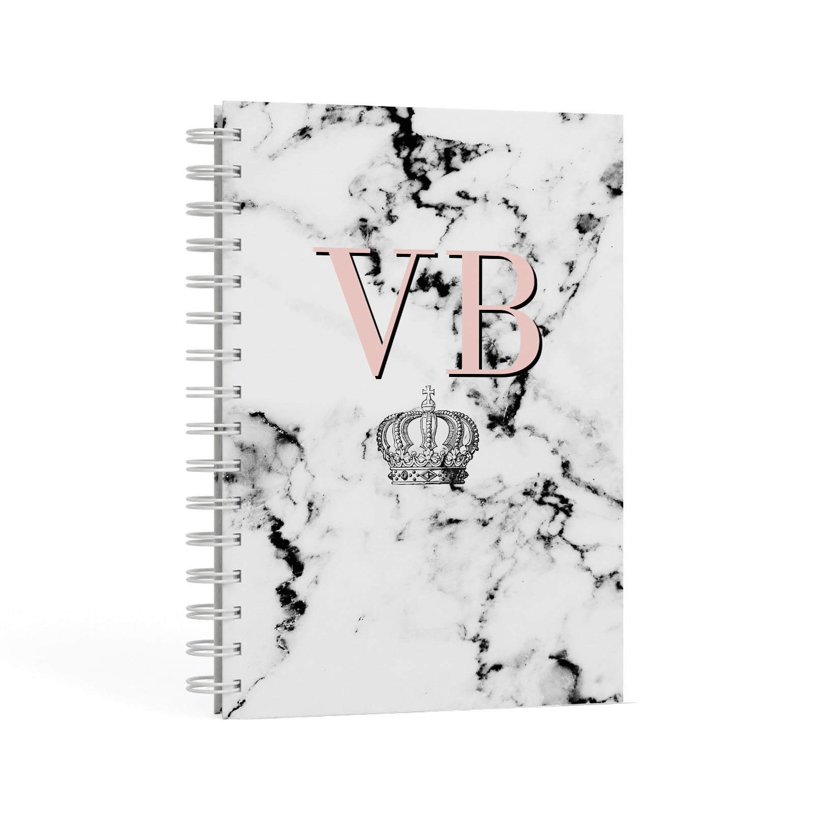 Personalised Coral Initials Marble Crown A5 Hardcover Notebook Second Side View