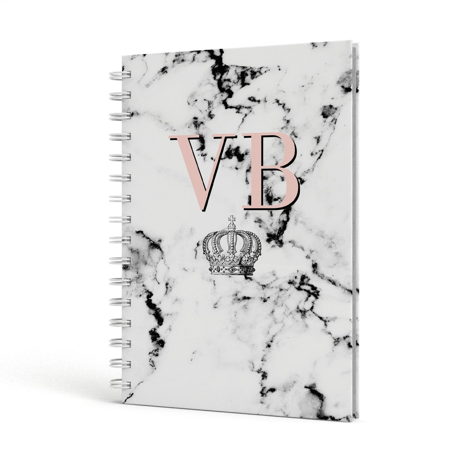 Personalised Coral Initials Marble Crown A5 Hardcover Notebook Side View
