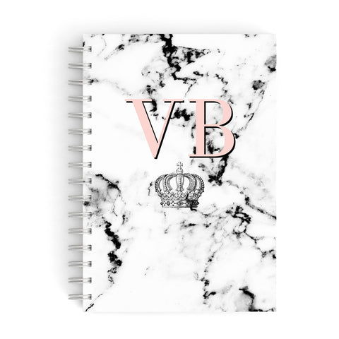 Personalised Coral Initials Marble Crown A5 Hardcover Notebook