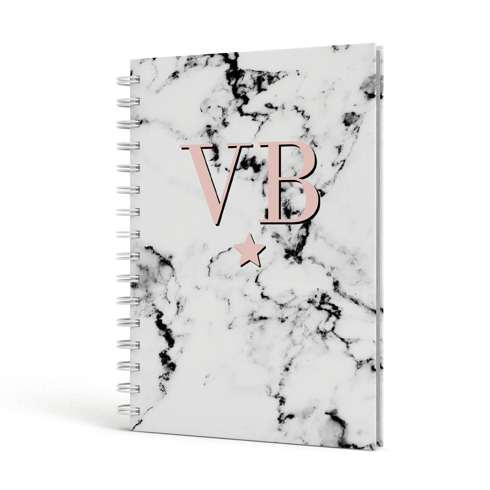 Personalised Coral Initials Star Marble A5 Hardcover Notebook Side View
