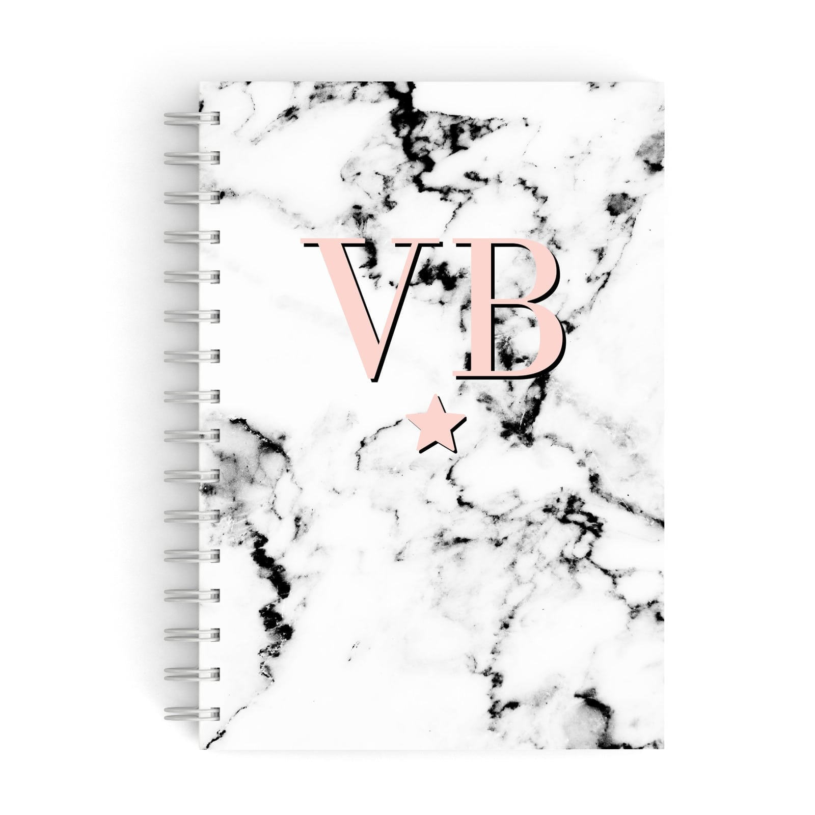 Personalised Coral Initials Star Marble A5 Hardcover Notebook