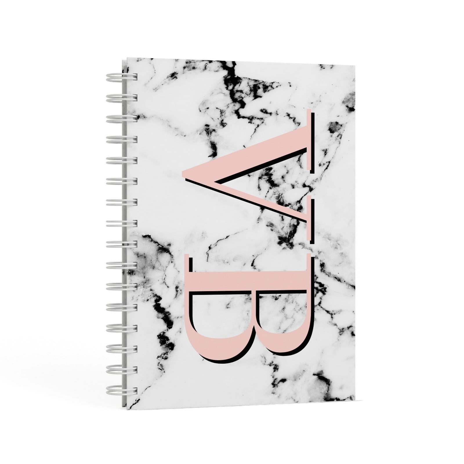 Personalised Coral Malble Initials A5 Hardcover Notebook Second Side View