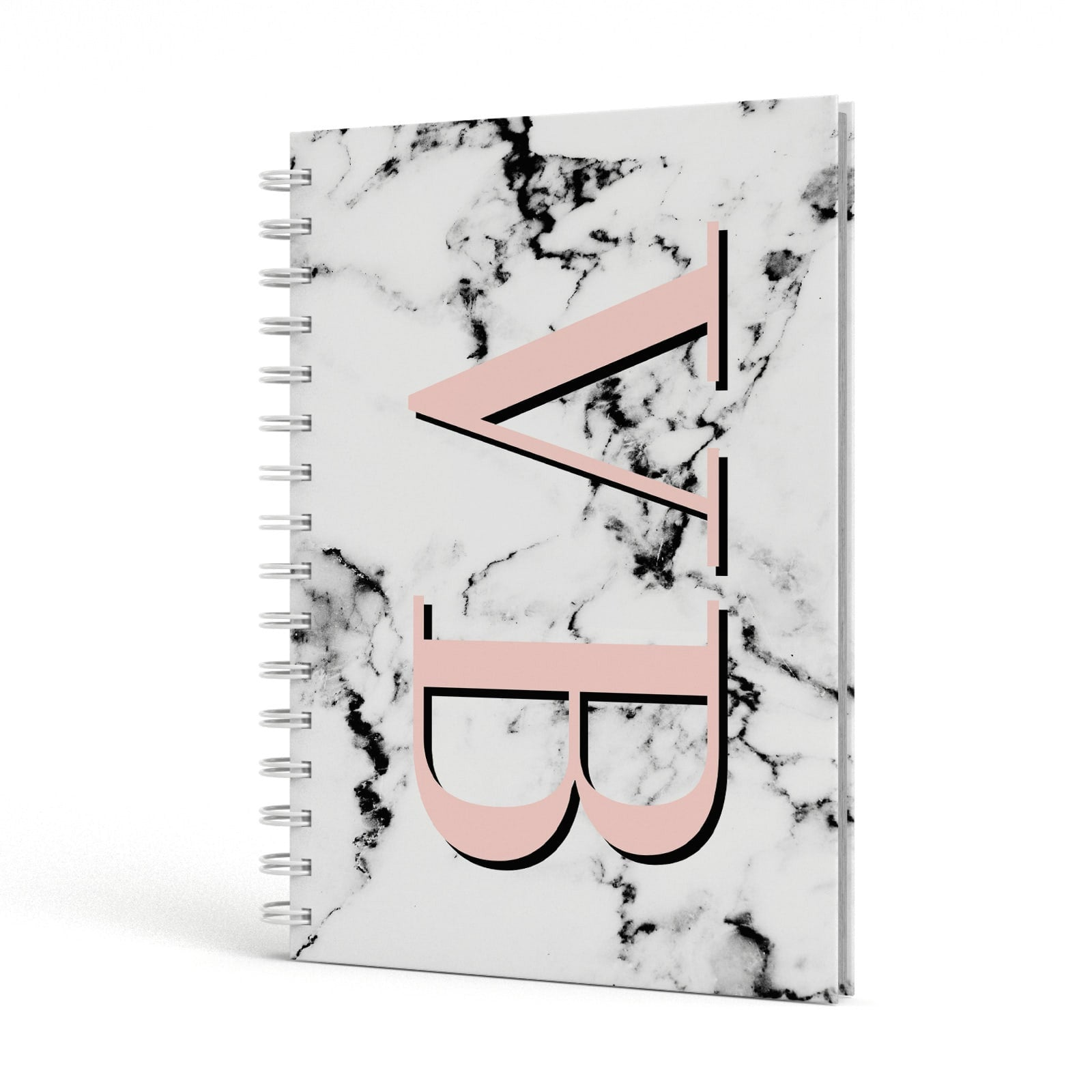 Personalised Coral Malble Initials A5 Hardcover Notebook Side View