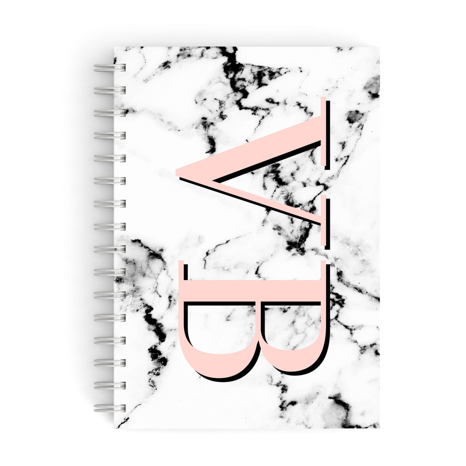 Personalised Coral Malble Initials A5 Hardcover Notebook