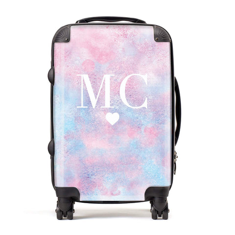 Personalised Cotton Candy Marble Initials Suitcase