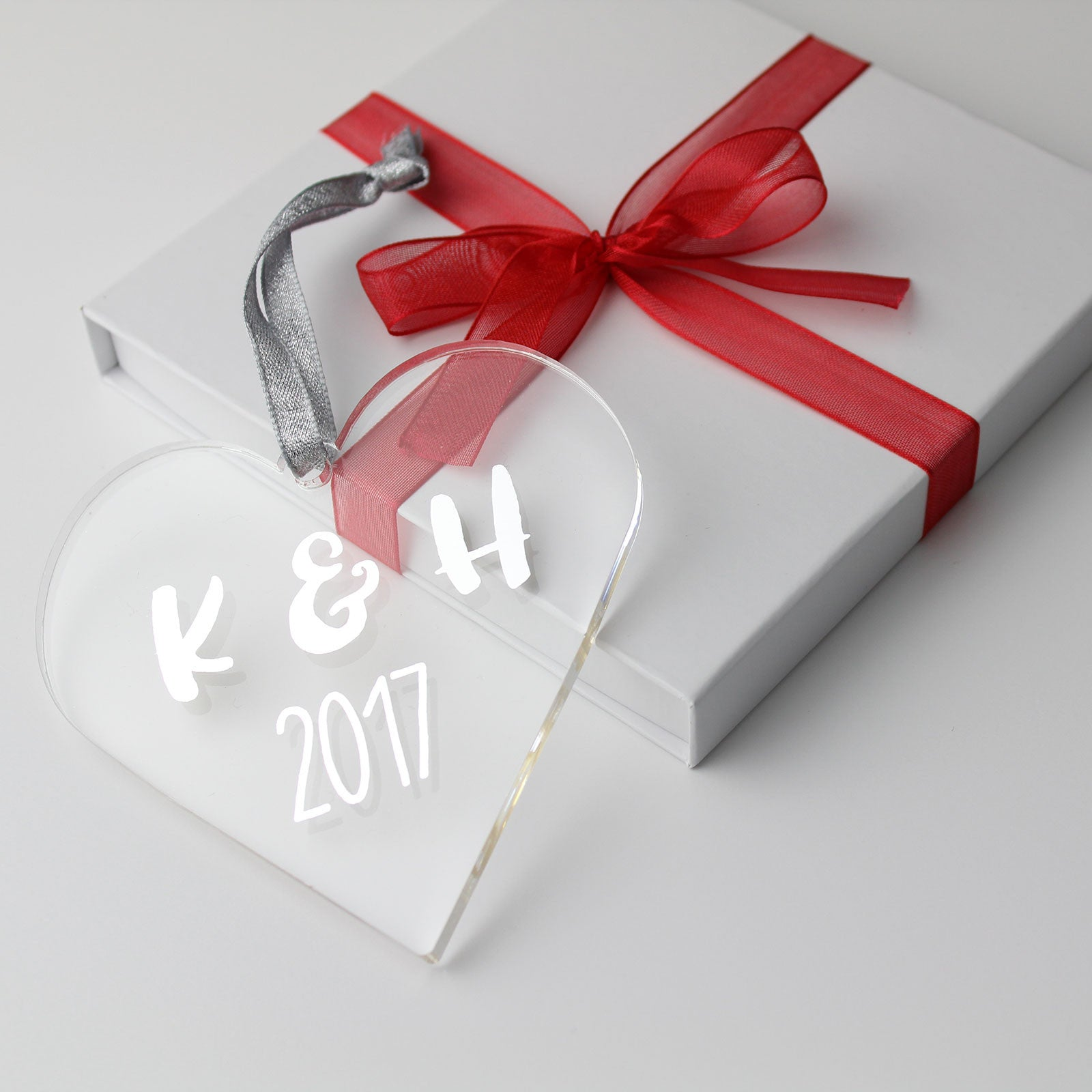 Personalised Couple's Foiled Initials Acrylic Heart in Gift Box