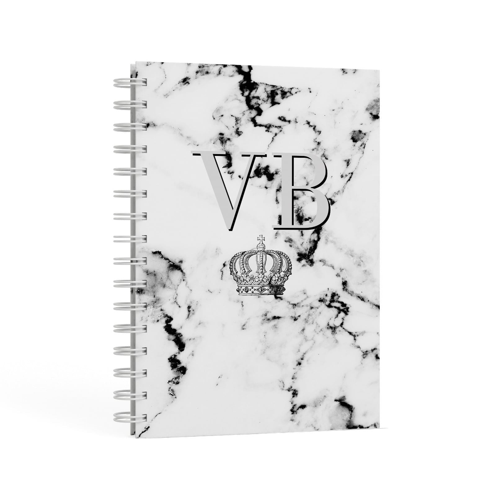 Personalised Crown Marble Initialed Grey A5 Hardcover Notebook Second Side View