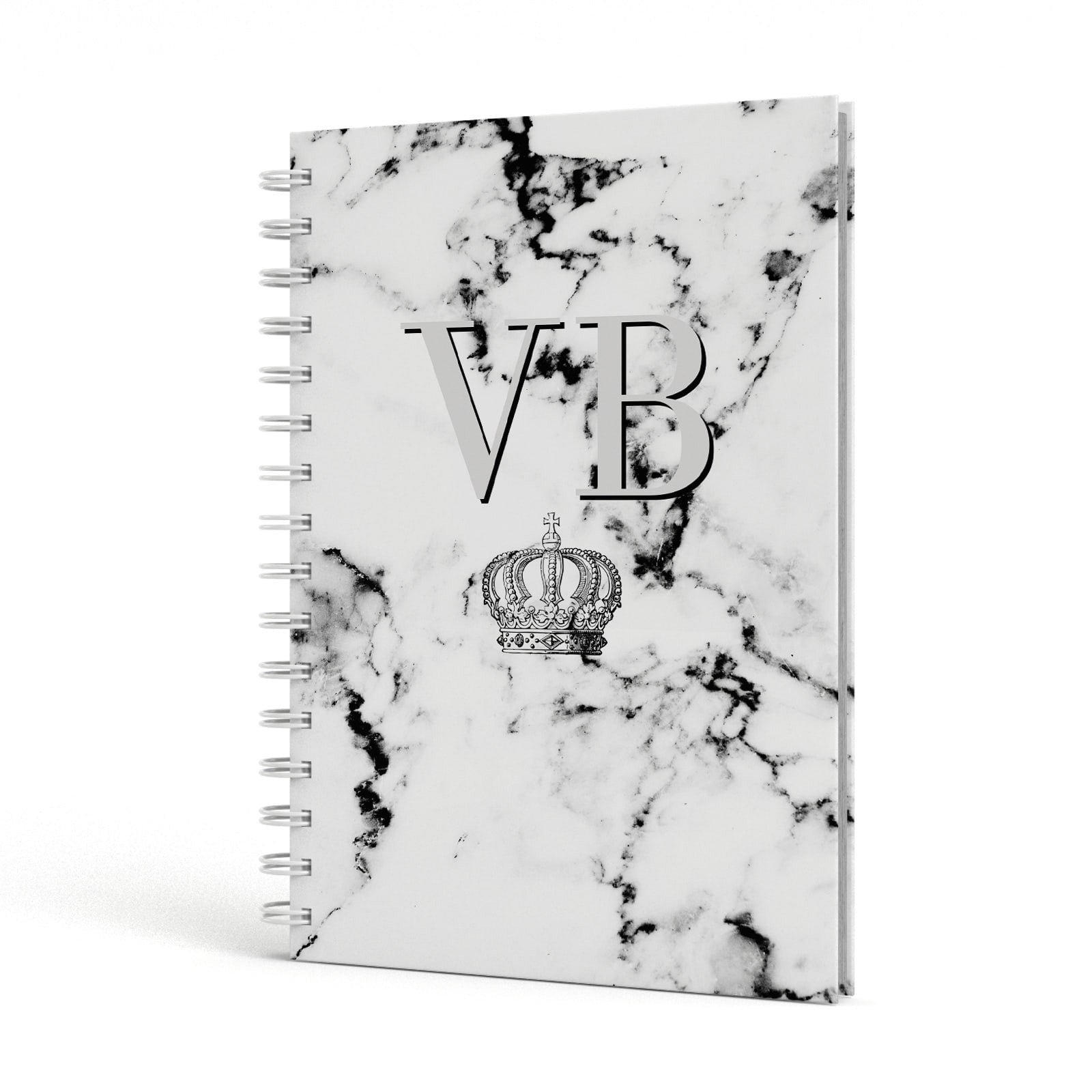 Personalised Crown Marble Initialed Grey A5 Hardcover Notebook Side View