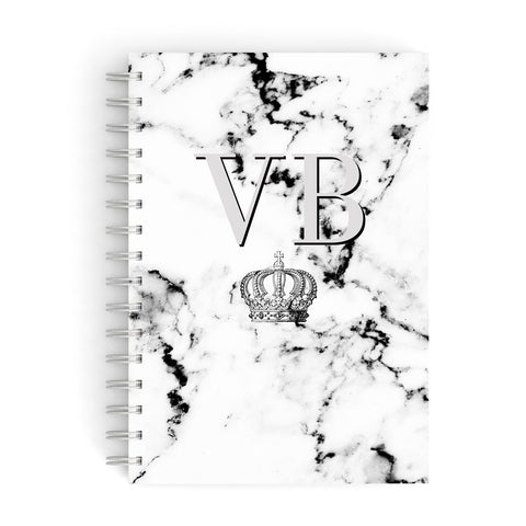 Personalised Crown Marble Initialed Grey A5 Hardcover Notebook
