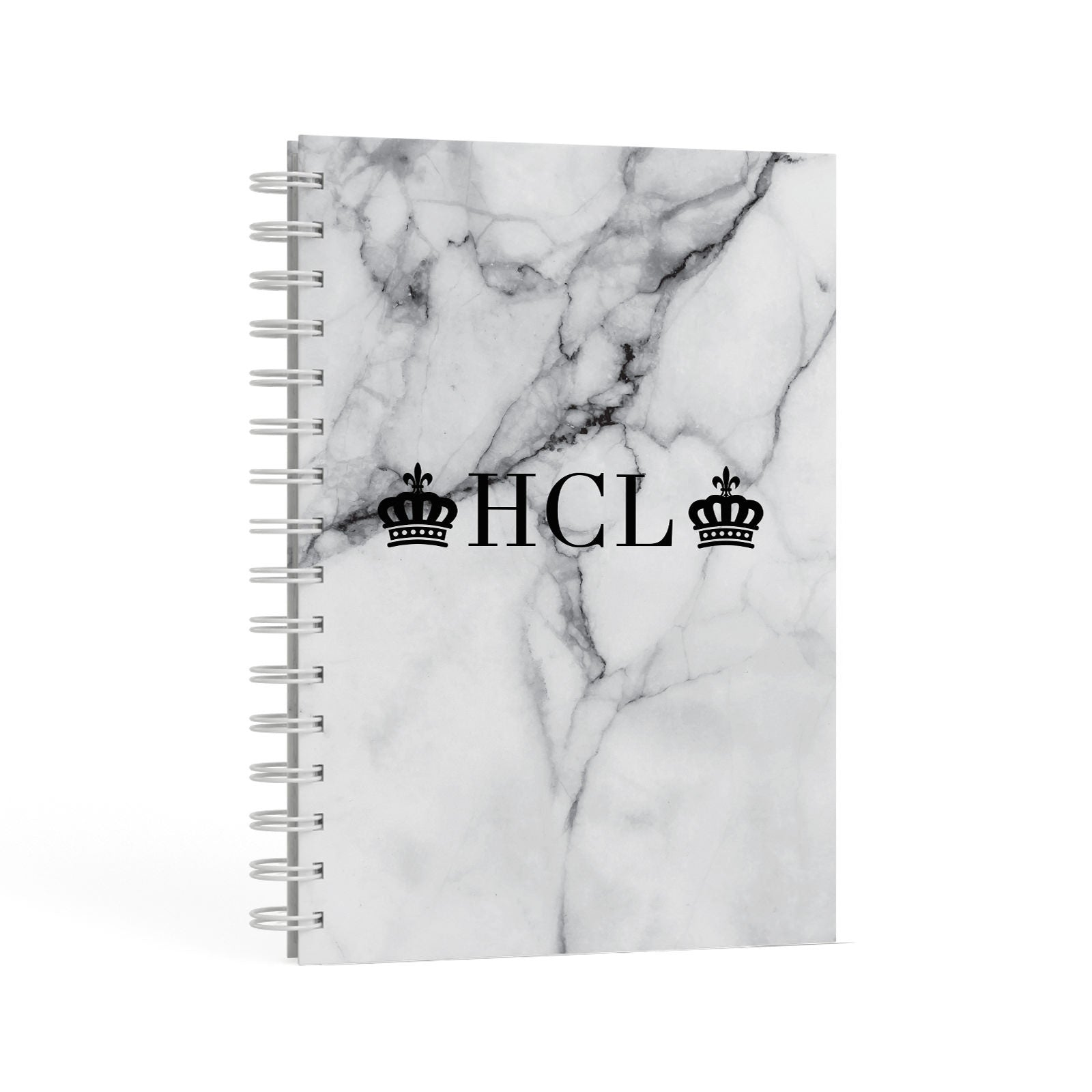 Personalised Crowns Marble Initials A5 Hardcover Notebook Second Side View