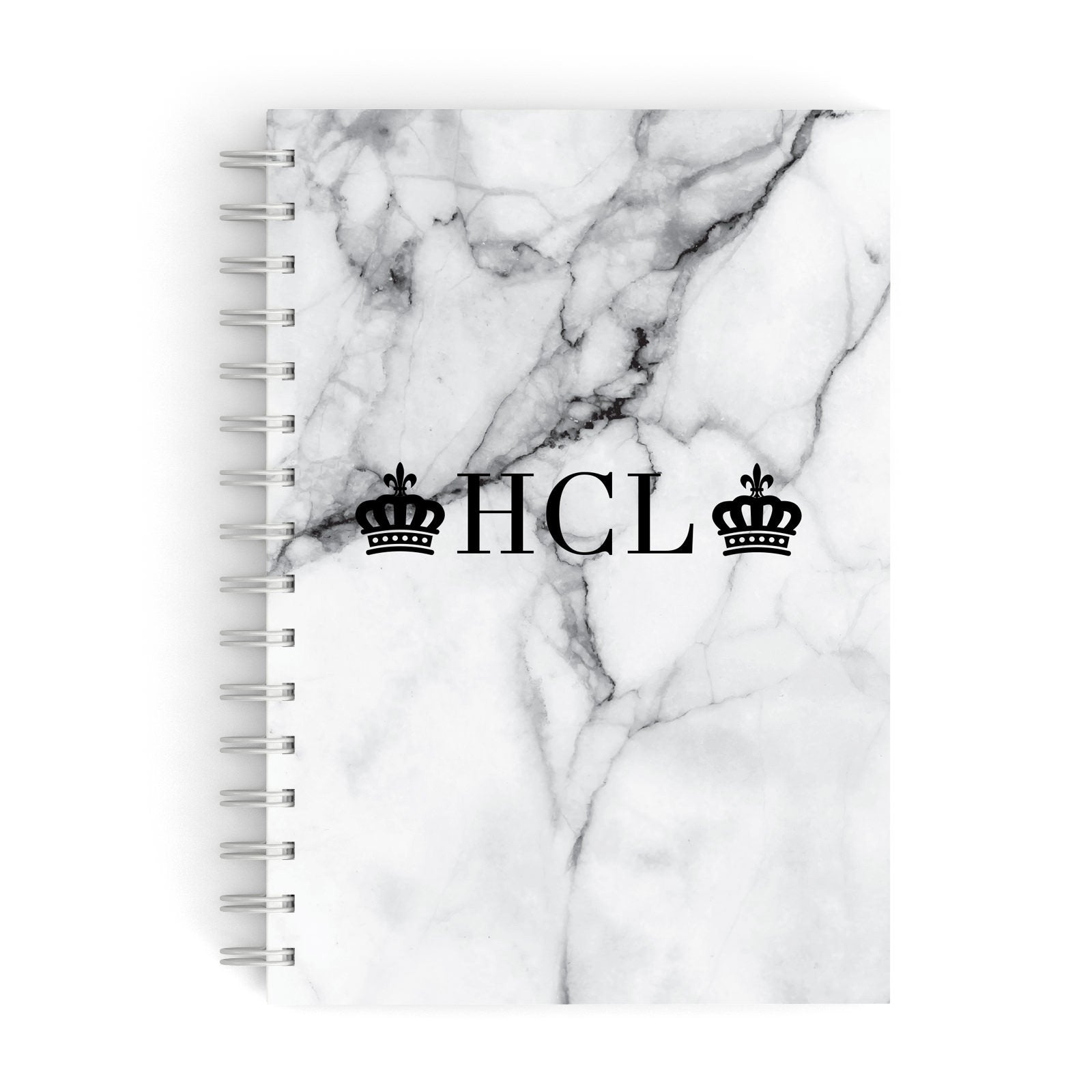 Personalised Crowns Marble Initials A5 Hardcover Notebook