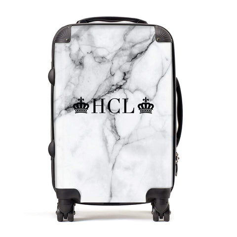 Personalised Crowns Marble Initials Suitcase