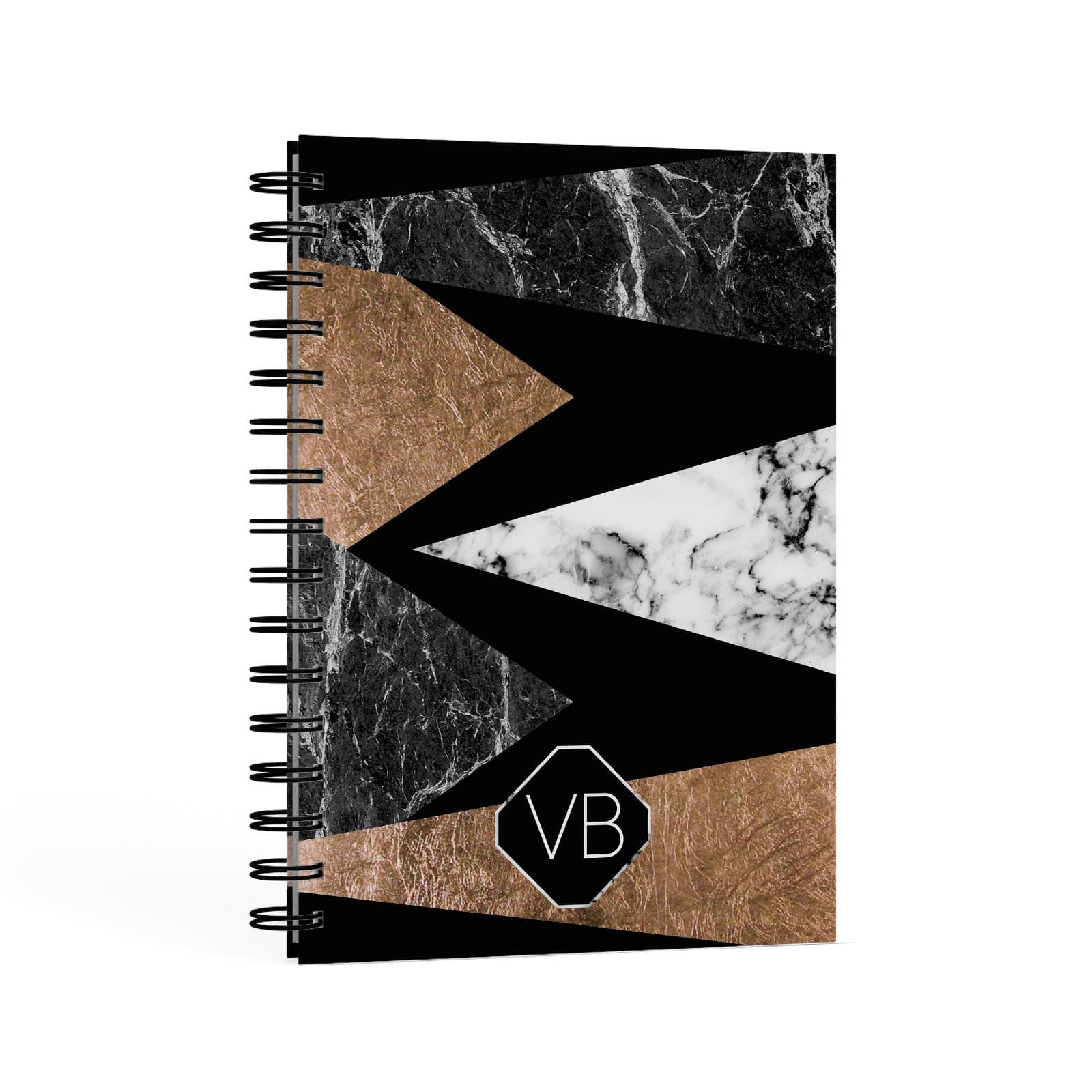 Personalised Custom Marble Initials A5 Hardcover Notebook Second Side View