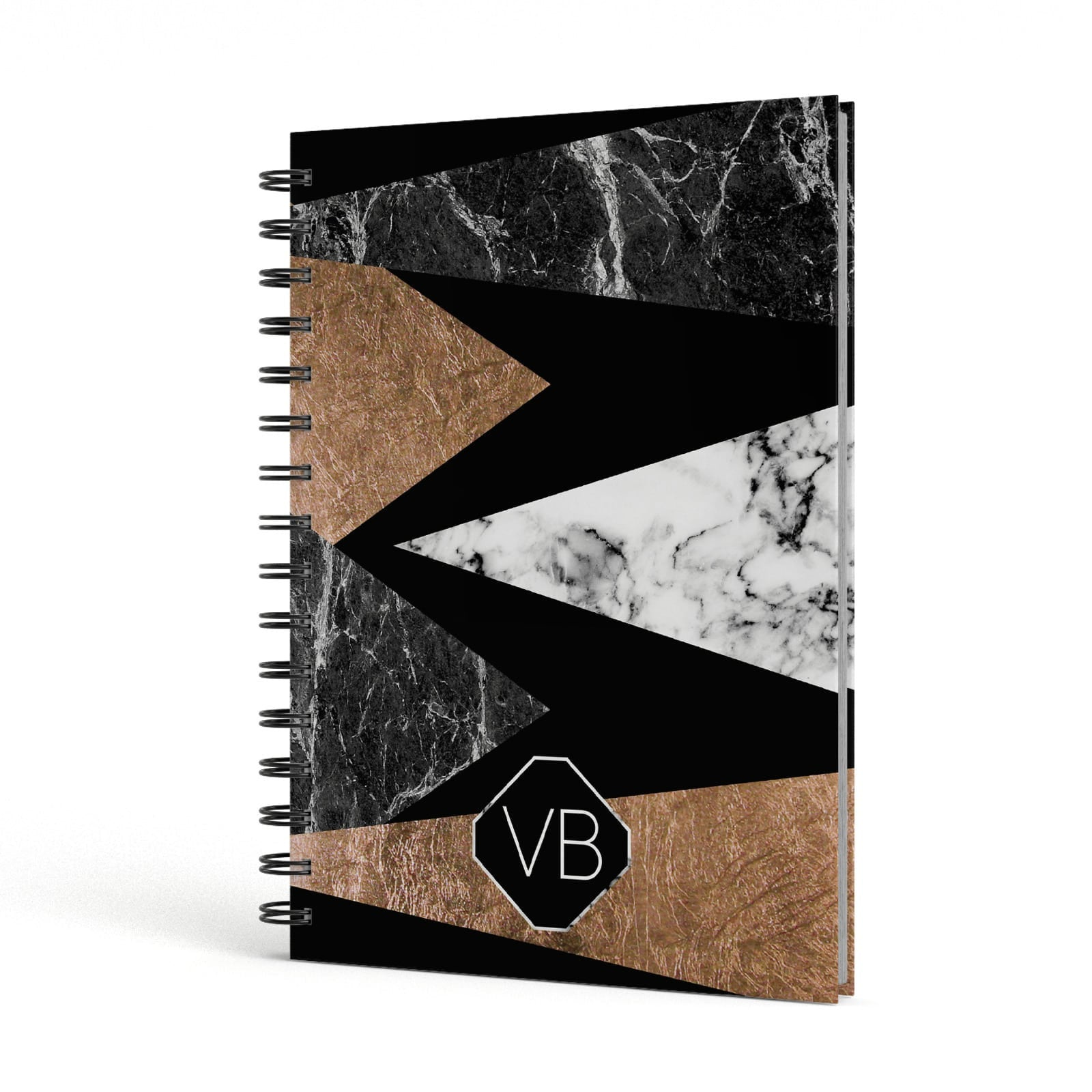 Personalised Custom Marble Initials A5 Hardcover Notebook Side View