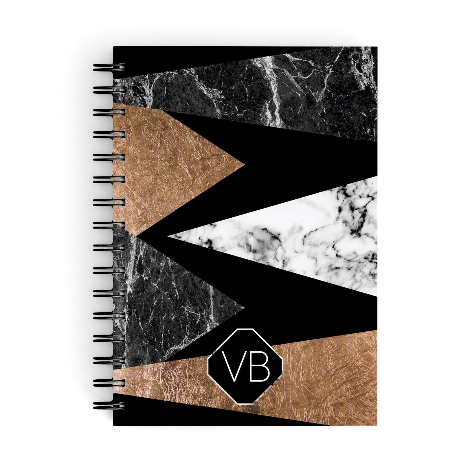Personalised Custom Marble Initials A5 Hardcover Notebook