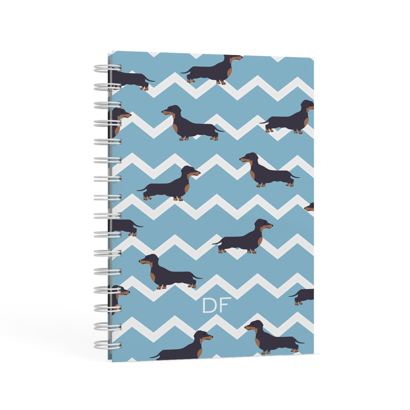 Personalised Dachshund A5 Hardcover Notebook Second Side View