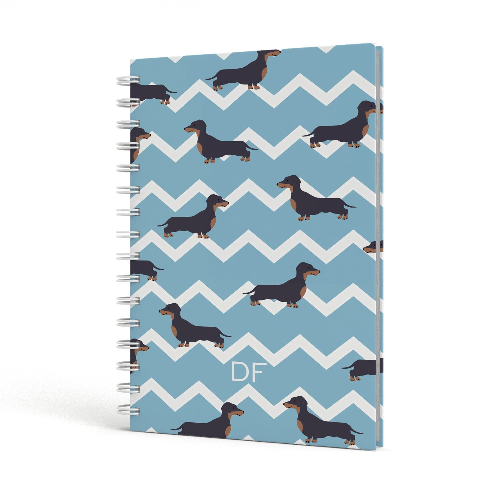 Personalised Dachshund A5 Hardcover Notebook Side View