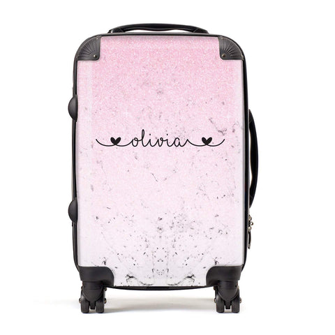 Personalised Faux Glitter & Marble Name Suitcase