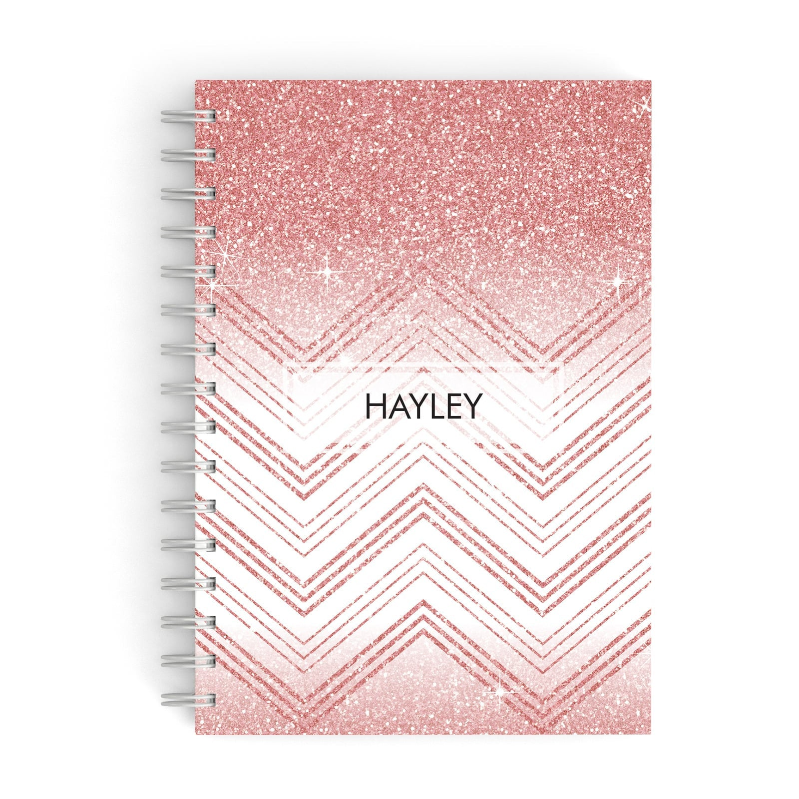 Personalised Faux Glitter Effect Name Initials A5 Hardcover Notebook