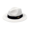 Personalised White Straw Fedora Hat