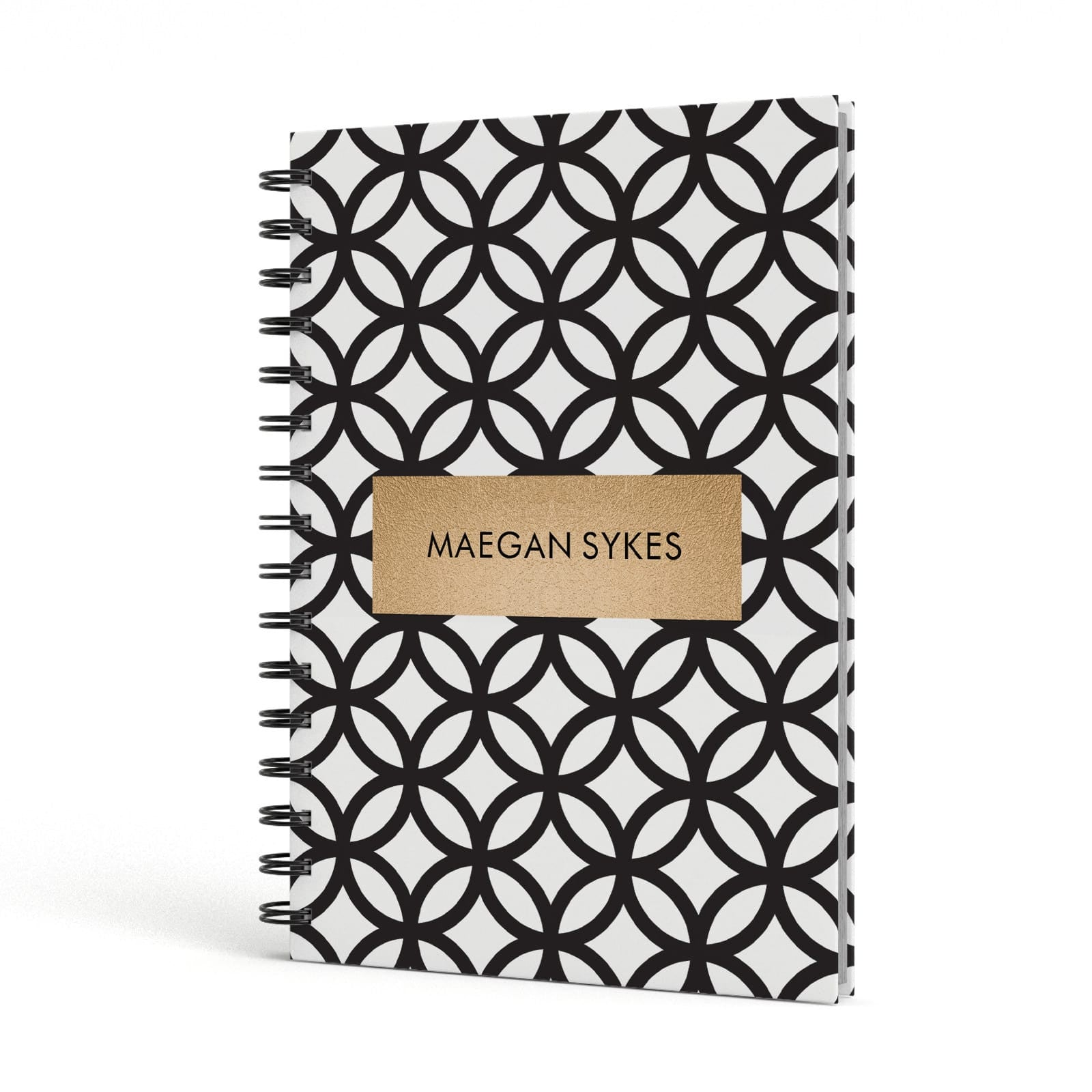 Personalised Geometric Name Or Initials Custom A5 Hardcover Notebook Side View