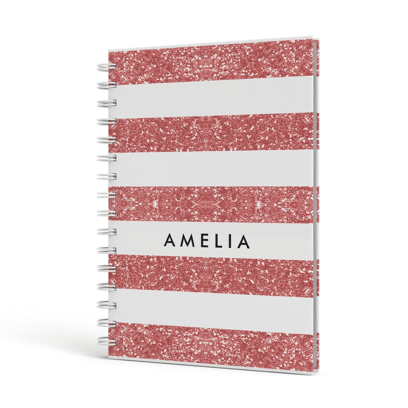 Personalised Glitter Effect Name Initials A5 Hardcover Notebook Side View