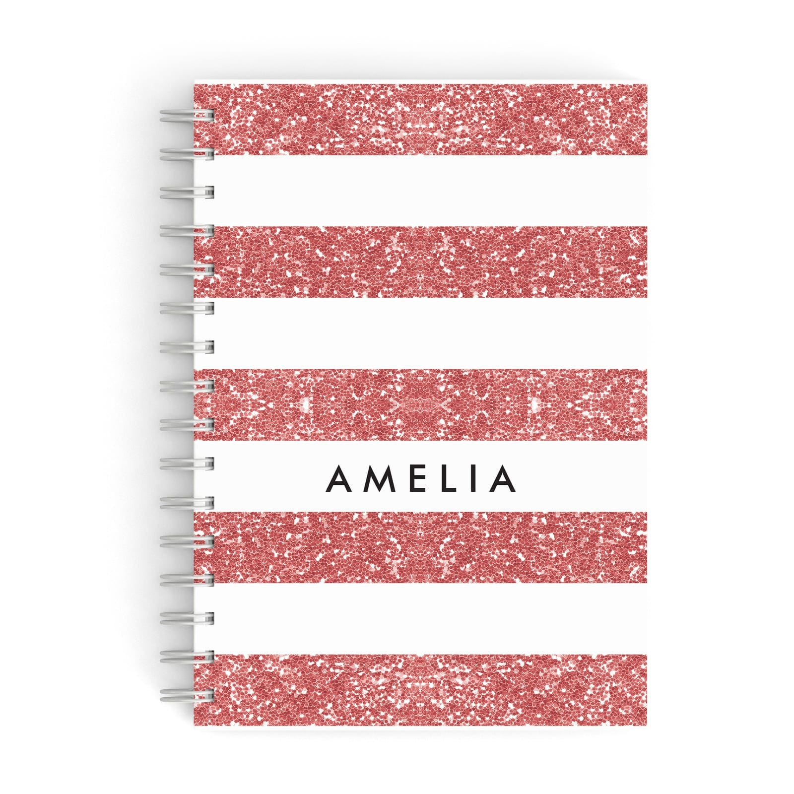 Personalised Glitter Effect Name Initials A5 Hardcover Notebook