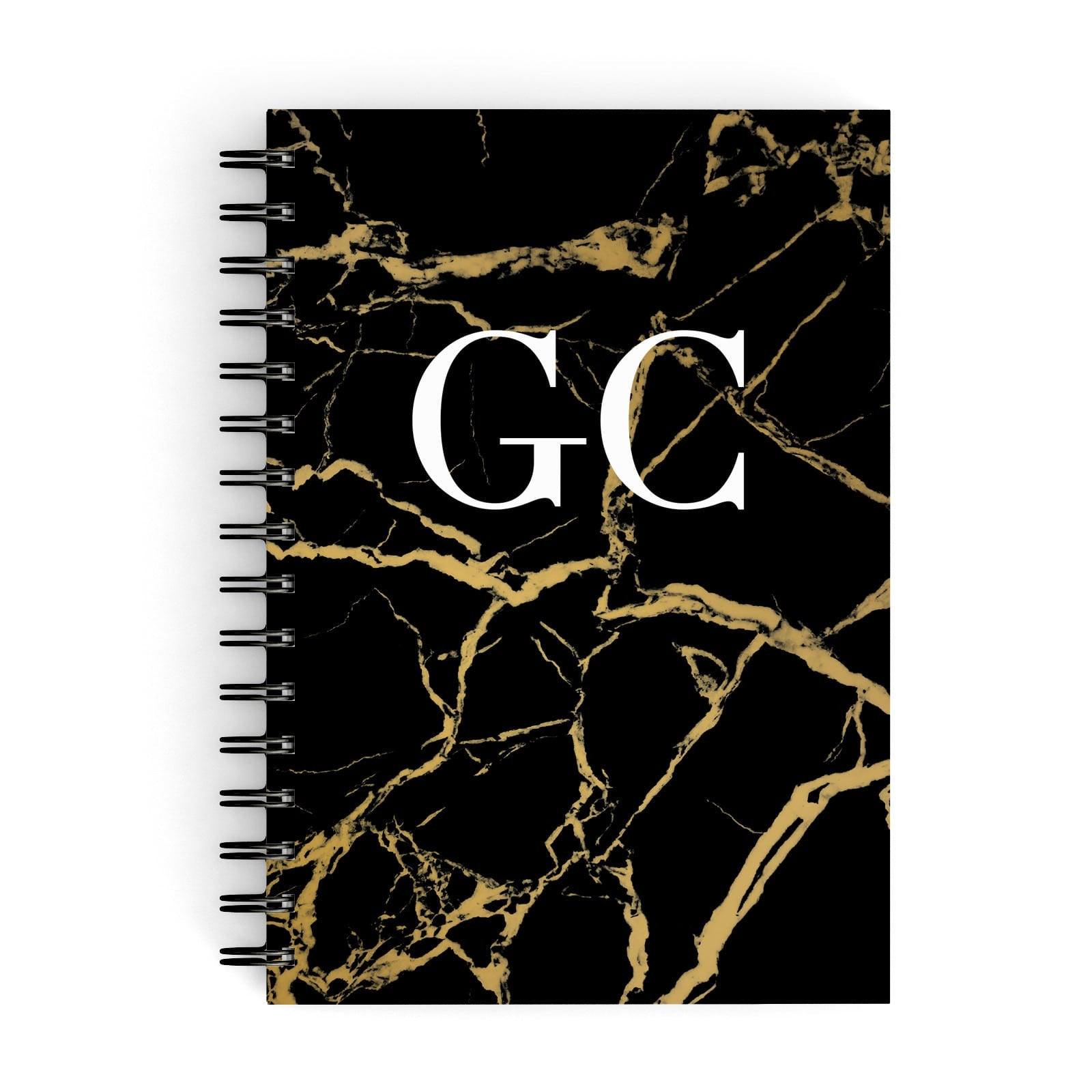 Personalised Gold Black Marble Monogram A5 Hardcover Notebook