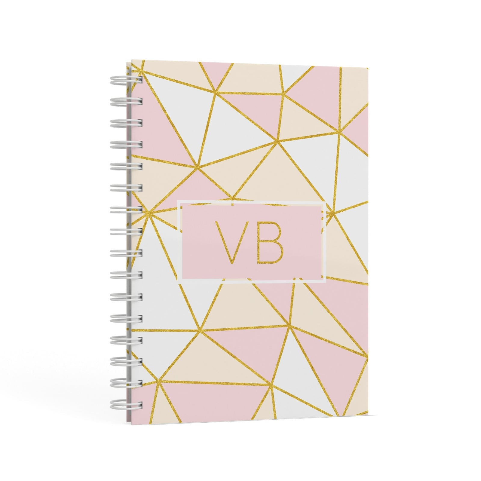 Personalised Gold Initials Geometric A5 Hardcover Notebook Second Side View