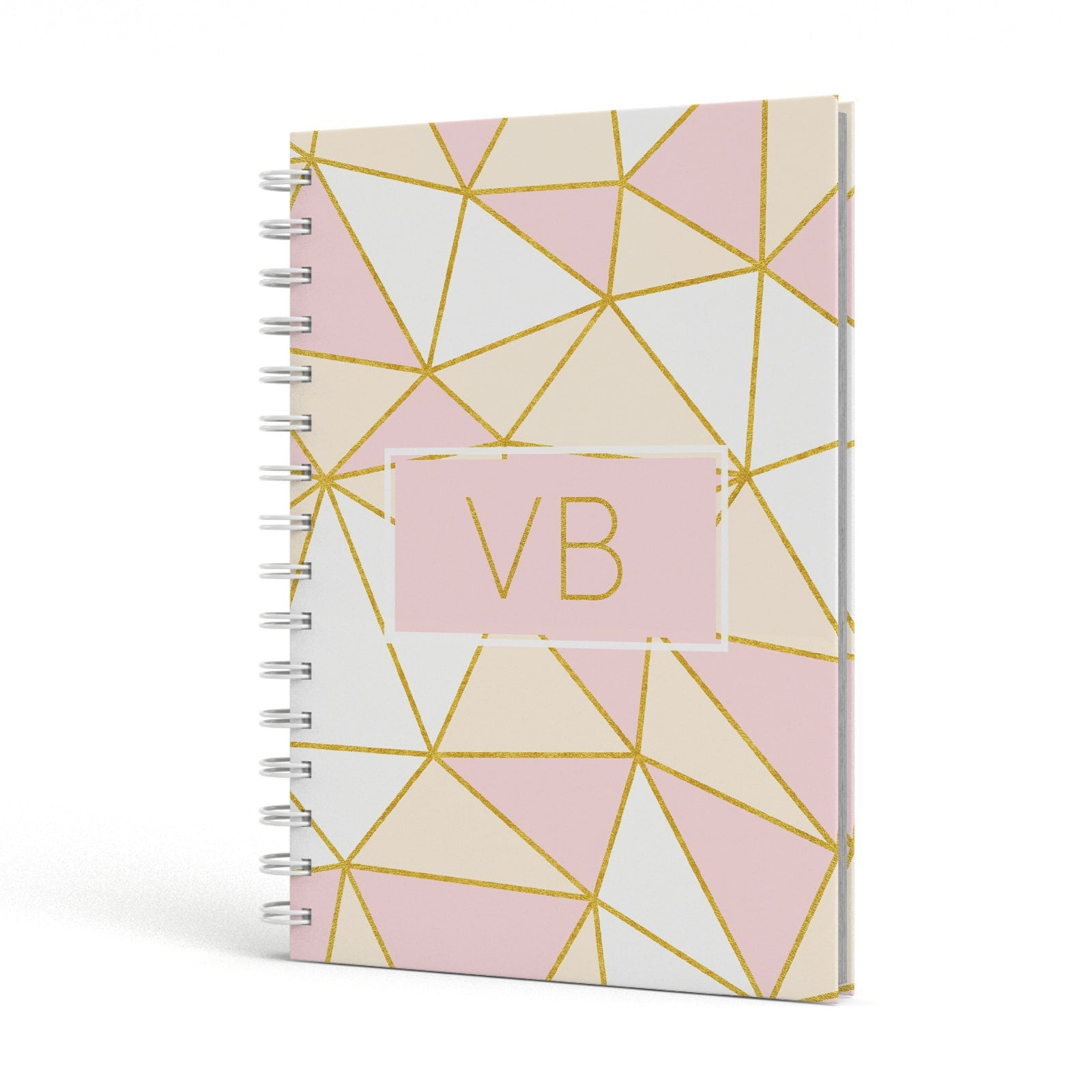 Personalised Gold Initials Geometric A5 Hardcover Notebook Side View