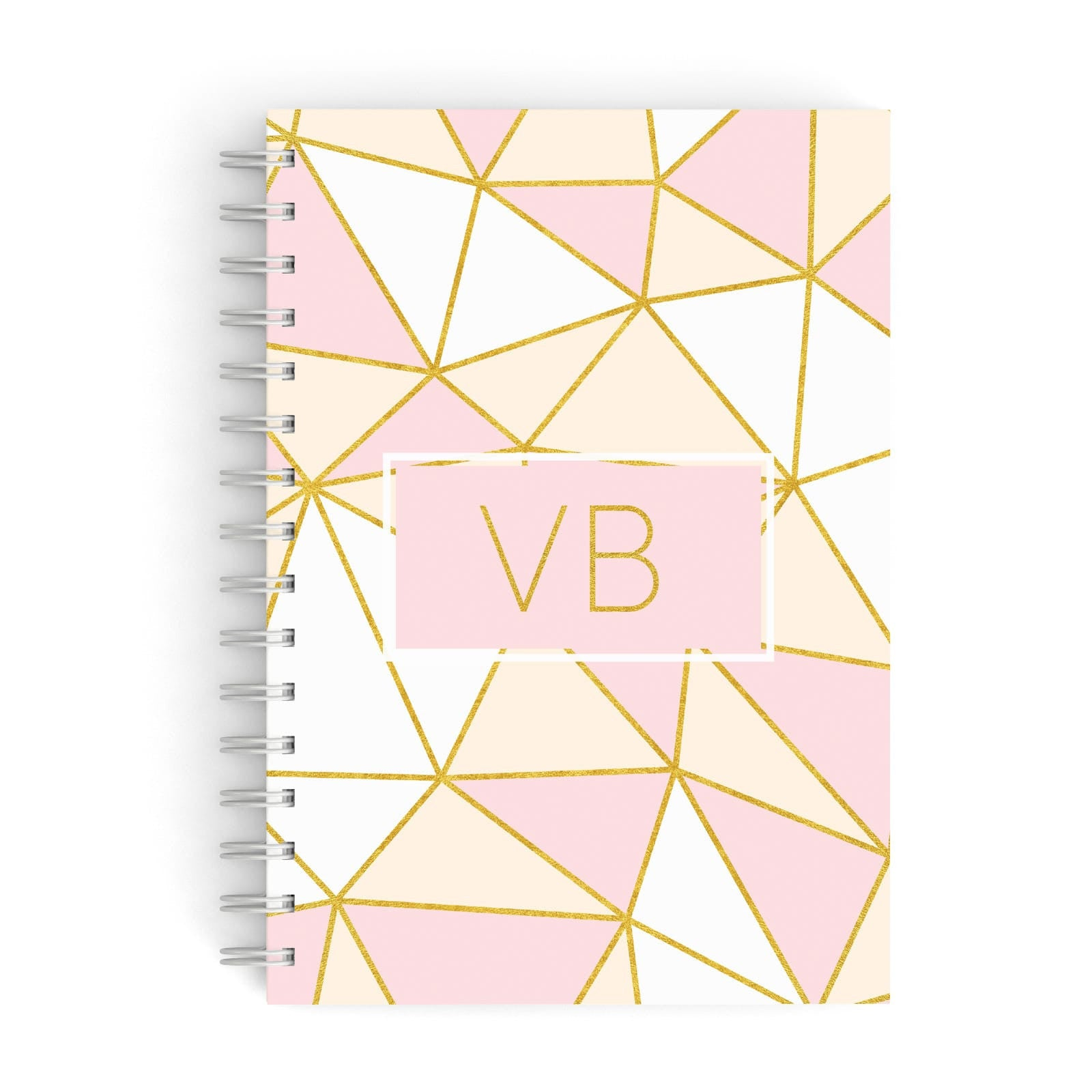 Personalised Gold Initials Geometric A5 Hardcover Notebook